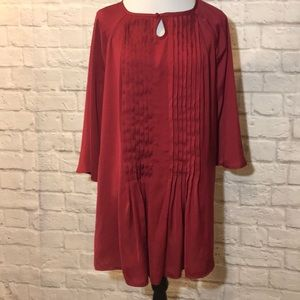 EUC Lane Bryant burgundy pleated tunic top